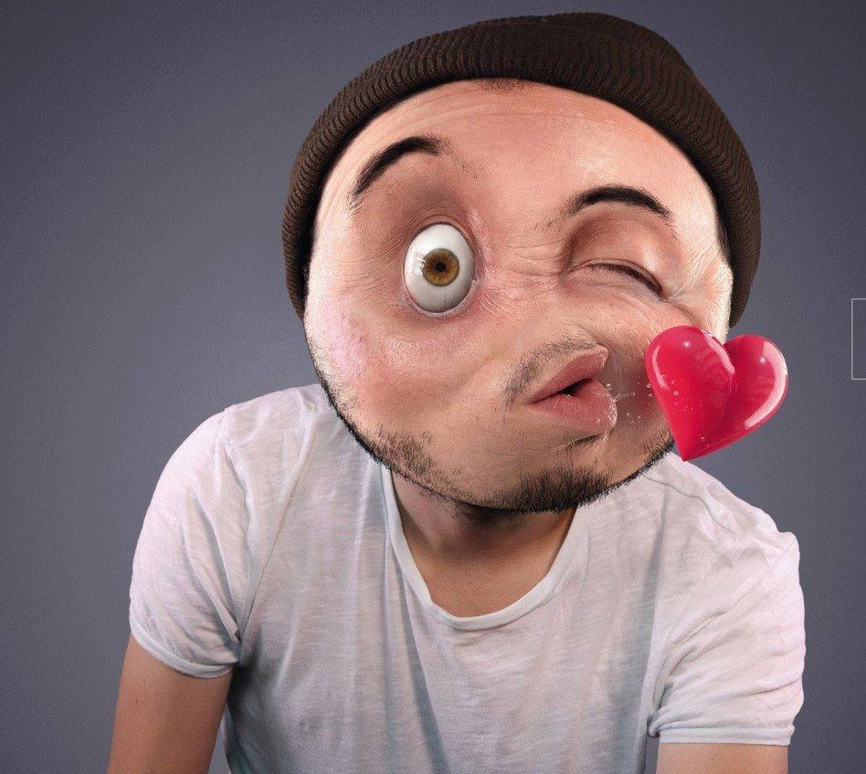 Flying Kiss Smiley with Human Face Photoshopped ...
