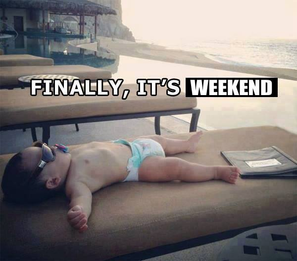 Finnaly Its Weekend - Funny Baby Lying in Beach Taking Rest
