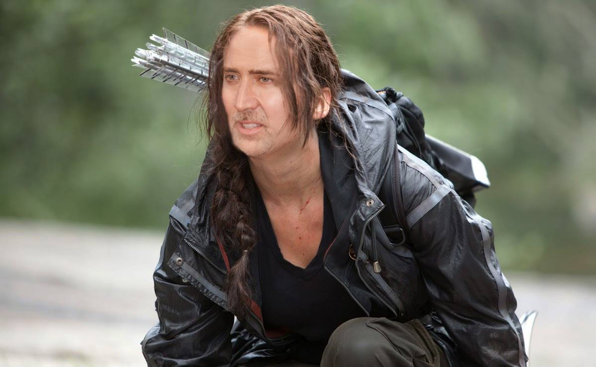 Nicolas Cage as Jennifer Lawrence Hunger Games
