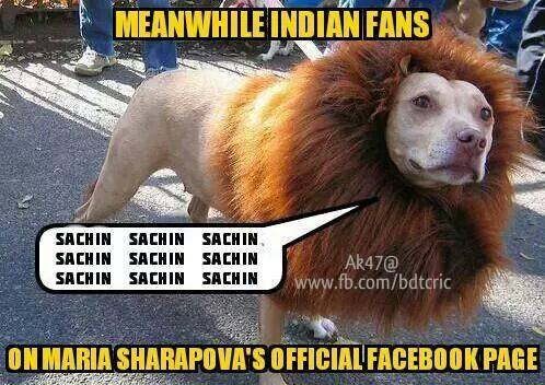 Meanwhile Indians Fans - Sachin - On Maria Sharapovas Official Facebook Page
