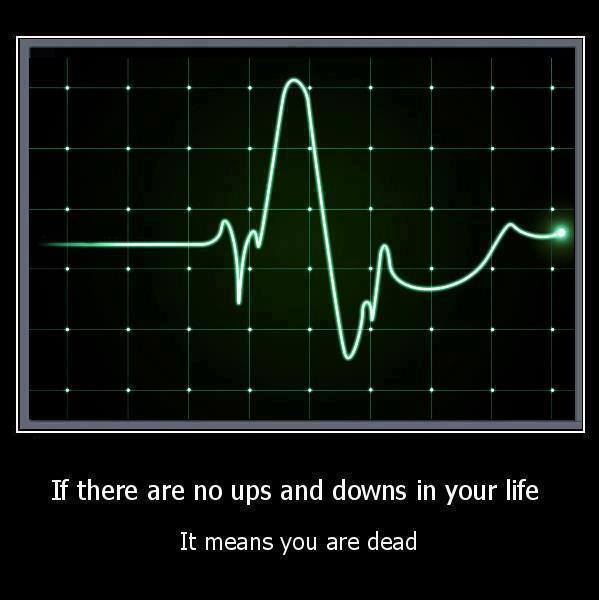 If there are no ups and downs in your life, It means you are dead. ECG Heart beat Pulse