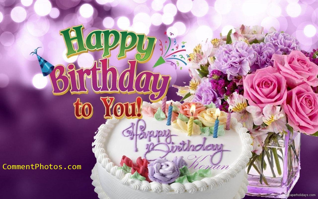 Happy Birthday To You - Cake with Candles Flowers