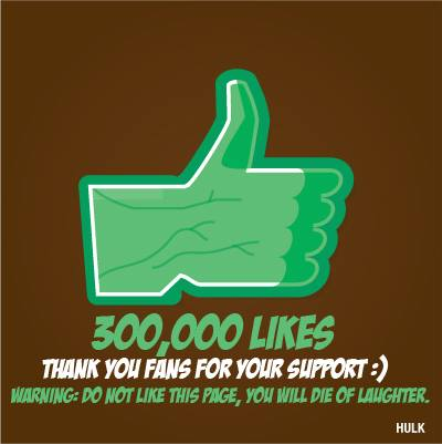 300000 Likes - Green Hulk Hand - Thanks for your support