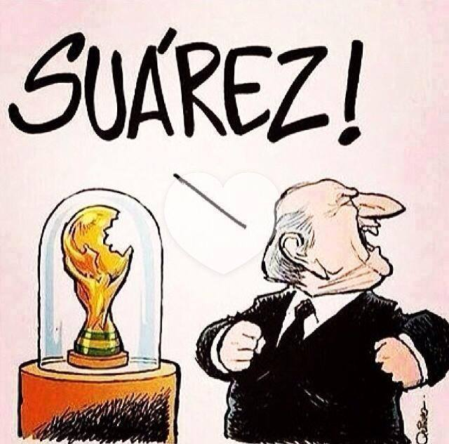 Suarez bites worldcup trophy - This is why I bite people - Luiz Suares