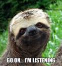 Go On I am Listening - Funny Sloth